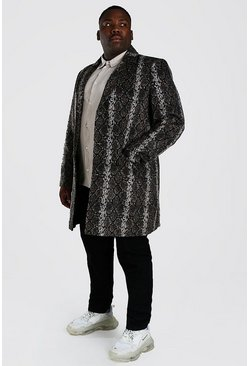 Brown Plus Size Snake Print Overcoat