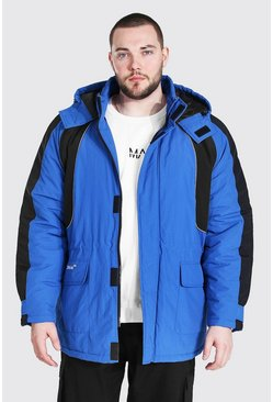 Blue Plus Size Colour Block Ski-Jacket
