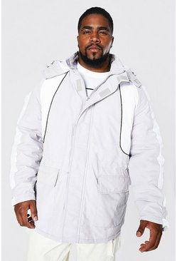 Light grey grey Plus Size Colour Block Ski-Jacket