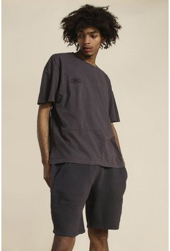 Brown Oversized Official Panelled Washed T-shirt
