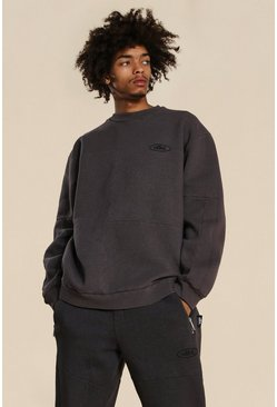 Brown Oversized Official Panelled Washed Sweater