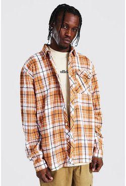 Rust orange Oversized Check Shirt