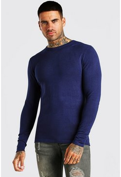 Navy Muscle Fit Crew Neck Jumper