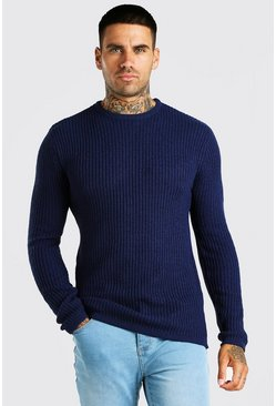Navy Crew Neck Fisherman Rib Jumper
