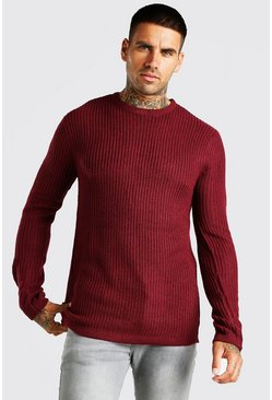 Burgundy red Crew Neck Fisherman Rib Jumper