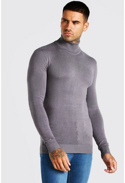 Charcoal grey Muscle Fit Roll Neck Jumper