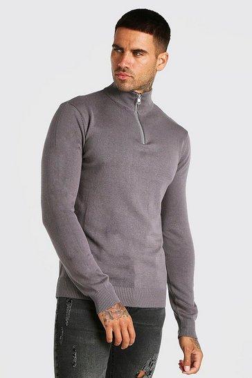 Grey Half Zip Funnel Neck Jumper