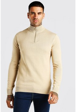 Stone beige Half Zip Funnel Neck Jumper