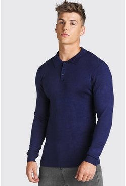 Navy Long Sleeve Knitted Polo