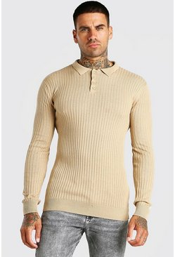 Camel beige Long Sleeve Muscle Fit Ribbed Knit Polo