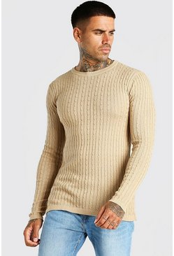 Camel Muscle Fit Cable Knit Jumper