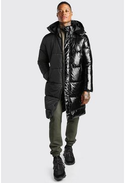 Black Matte And High Shine Half And Half Longline Puffer