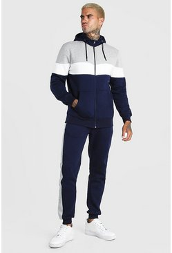 Navy Colour Block Panel Hooded Tracksuit