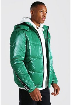 Green Man Dash Back Detail HIgh Shine Puffer