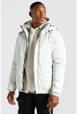 Stone beige High Shine Hooded Puffer