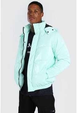 Mint green High Shine Hooded Puffer