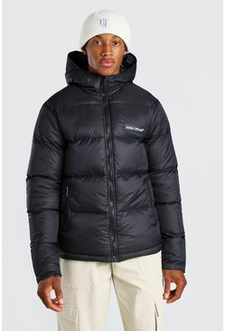 Black MAN Branded Hand Filled Puffer