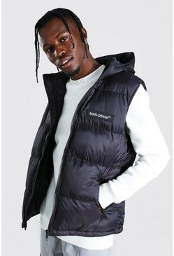 Black MAN Branded Padded Gilet