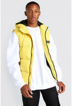 Mustard yellow MAN Branded Padded Gilet