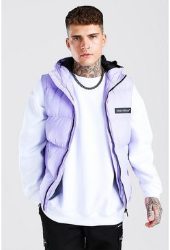 Lilac purple Man Branded Padded Gilet