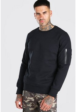 Black Crew Neck Sweatshirt With Zip Detail