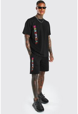 Black Man Rainbow Embroidered T-Shirt & Short Set