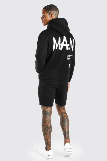 Black Man Graffiti Print Hooded Short Tracksuit