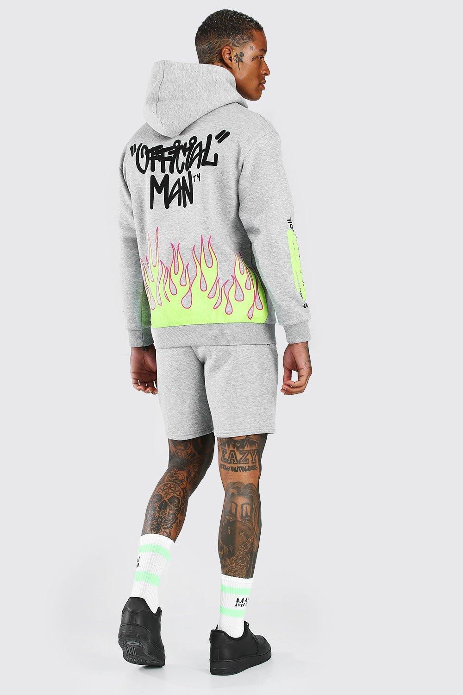 Men's Tracksuits Official Man Graffiti Flame Printed Short Tracksuit