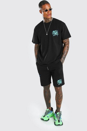 Black Man Graffiti Wire Printed T-Shirt & Short Set
