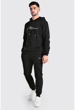Black Man Signature Embroidered Hooded Tracksuit