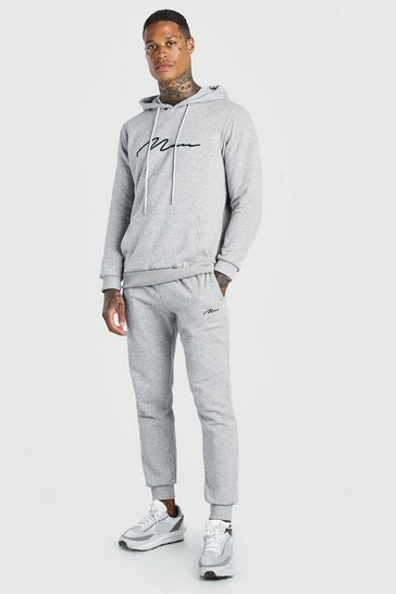 Grey marl grey Man Signature Embroidered Hooded Tracksuit