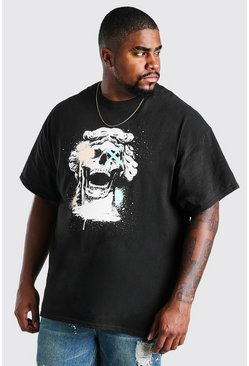 Black Big And Tall Skull Graffiti Print T-Shirt