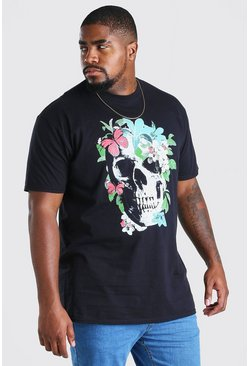 Camiseta con estampado de calavera con mariposas Big And Tall, Negro