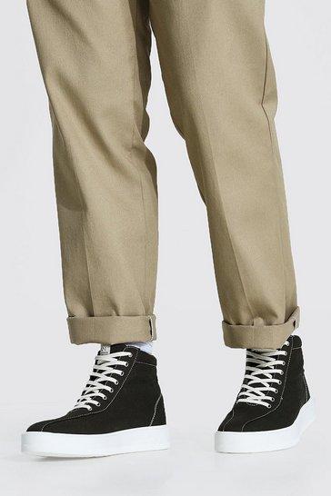Khaki Canvas Branded High Top