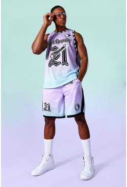 Multi Mesh Ombre Basketball Vest And Short Set