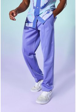 Cobalt blue Tricot Wide Leg Pleated Front Jogger