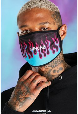 Blue Quavo Flame Print Fashion Mask