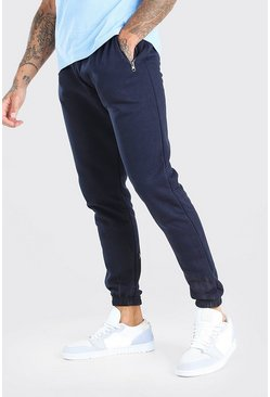 Navy Slim Fit Jogger With Side Zips