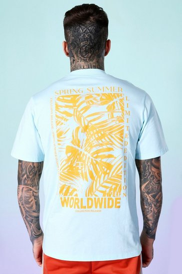 Blue Palm Print Back Graphic T-shirt