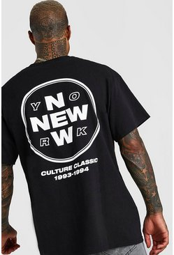 "Black svart ""New York"" Oversize t-shirt med tryck bak"