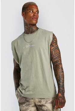 Green MAN Signature Embroidered Sleeveless T-Shirt