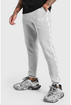 Grey marl grey Skinny Fit Jogger With MAN Tape