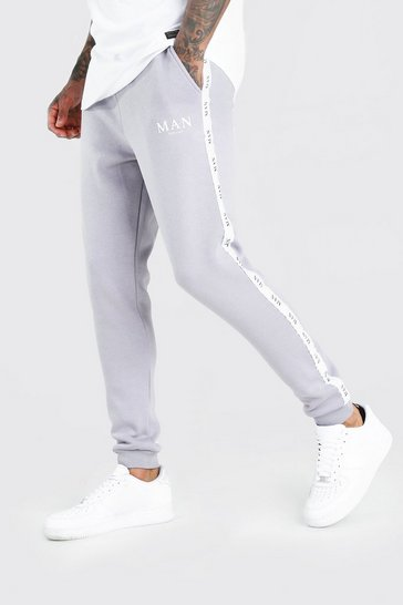 Charcoal grey Skinny Fit Jogger With MAN Tape