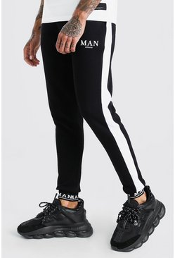 Black MAN Embroidered Cuff Side Pane Skinny Jogger