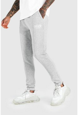 Grey marl MAN Skinny Pintuck Jogger With Embroidered Cuff