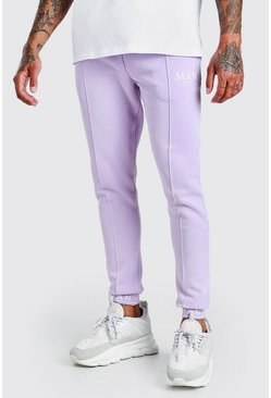 Lilac lila MAN Skinny Pintuck Jogger With Embroidered Cuff