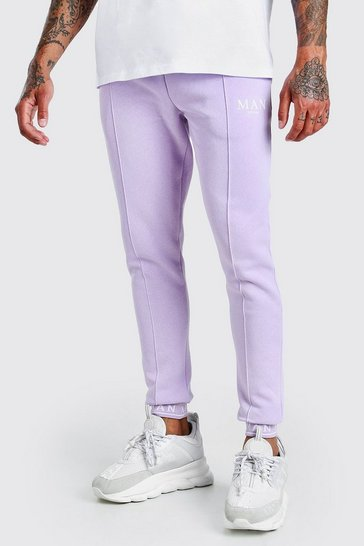 Lilac purple MAN Skinny Pintuck Jogger With Embroidered Cuff