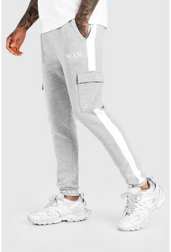 Grey marl MAN Skinny Fit Embroidered Cuff Cargo Jogger