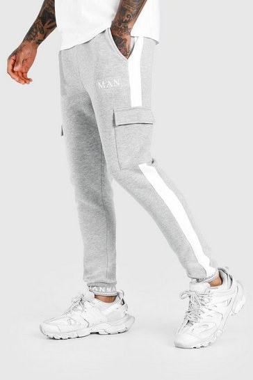 Grey marl grey MAN Skinny Fit Embroidered Cuff Cargo Jogger