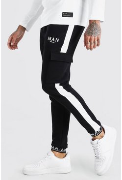 Black MAN Skinny Fit Embroidered Cuff Cargo Jogger
